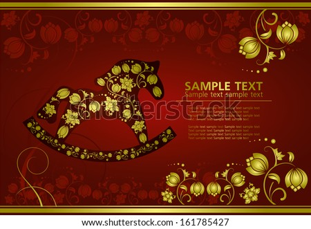 abstract gold christmas horse on red background
