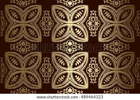 abstract gold geometric symmetrical pattern embossed bronze color on a dark background