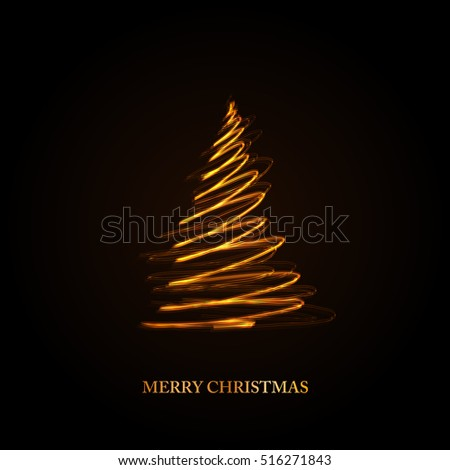 Abstract golden christmas tree on black background  easy all editable