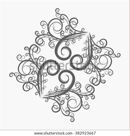 Abstract gray vector swirls on a white background