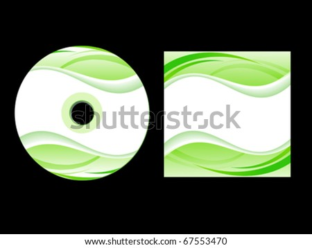abstract green cd cover vector illustration