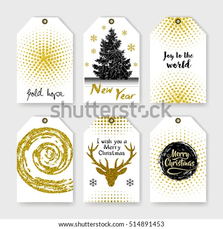 Abstract grunge patterns. Christmas gift tags. Holiday label. Christmas lettering. Happy New Year! Gold lettering design with confetti pattern. Striped textures. Round black strokes painted by brush.