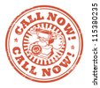 Abstract grunge rubber stamp with the phone and the words Call Now written inside the stamp, vector illustration - stock vector