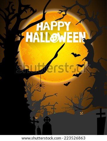 abstract halloween background with creepy tree, grave stones, bats, pumpkins, moon