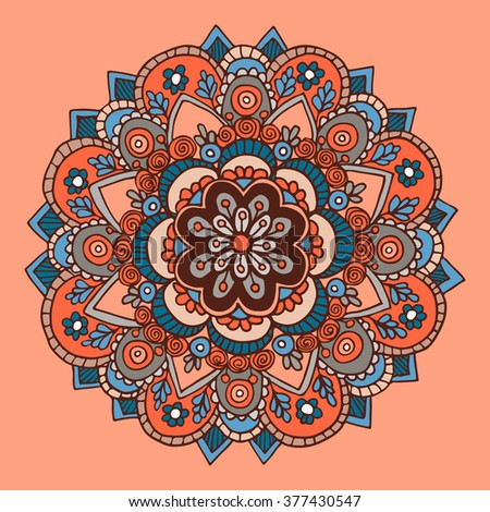 Abstract hand drawn background with mandala. Round ornament pattern. Ornamental mandala.