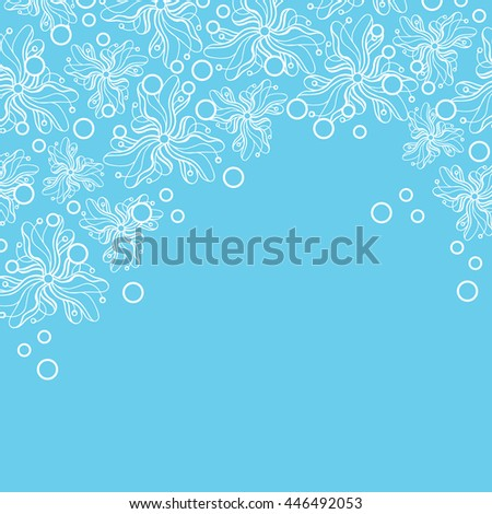 Abstract hand-drawn creative background of stylized flowers in light turquoise and white colors. Vector illustration.