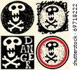 abstract hand drawn icons, doodle skull and crossbones - stock photo