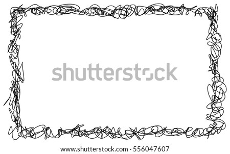 Abstract hand drawn scribble doodle frame isolated on white background