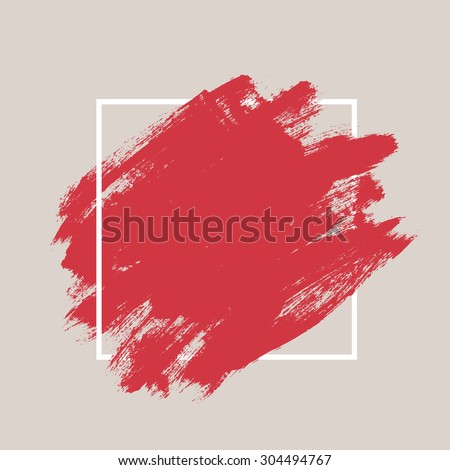 Abstract hand painted textured ink brush background with geometric frame, isolated strokes  with dry rough edges