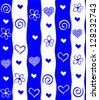 Abstract heart background in blue. Seamless stripped pattern. illustrations. - stock vector