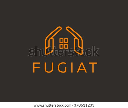 Abstract house logo design template colorful stock vector for House sign designs