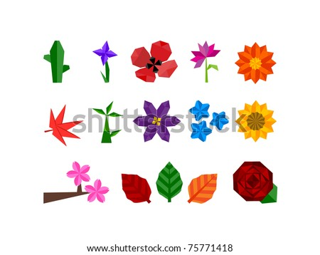 Abstract icon set of plants and flower icons for all seasons, weather and climates.