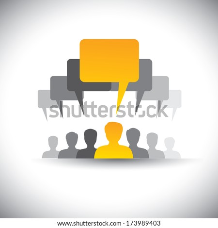 abstract icons of company staff or employee meeting  - vector graphic. This graphic also represents social media communication, board meetings, student union, people's voice, leader & leadership, etc