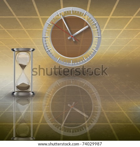 abstract illustration with clock and hourglass on brown
