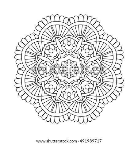 Simple Floral Mandala Black On White Stock Vector ... | 450 x 470 jpeg 59kB