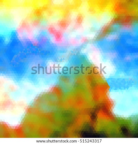Abstract landscape of polygons resembling mountain with sky and clouds. Lonely green, brown and blue mountain with blue sky and sunshine