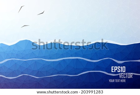 Abstract layered background. Triangular seascape.