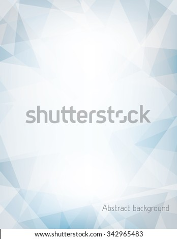 Abstract light blue and gray vertical background textured by chaotic triangles. Geometrical vector pattern. CMYK color mode