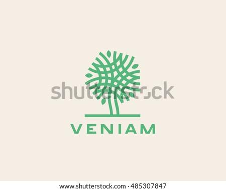 Green Circle Tree Vector Logo Design Stock Vector ...
