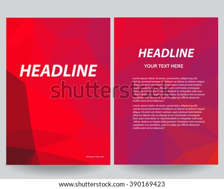 Abstract low poly flyers brochure annual report design templates with grey background in size a4