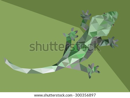 Abstract Low Poly Gecko - Vector Illustration