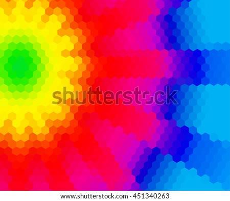 Rainbow Hexagon Background Vector Illustration Stock
