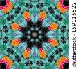 Abstract mandala / kaleidoscope symmetrical colorful decoration vector background - stock photo
