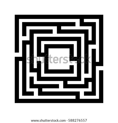 Labyrinth Kids Maze Game Isolated On Stock Vector ... Simple Square Maze
