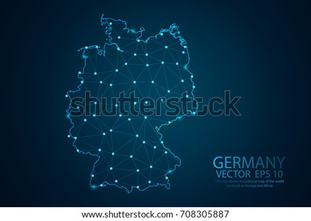 Infographics Polygonal Abstract Blue Europe Map Stock Vector - Germany map eps