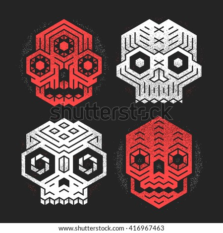 Abstract monster skulls sign designs. Cool dead head vector illustration. Unusual geometric vector cranium t-shirt print set. Grunge texture weathered paint effect. Evil tiki gods tribal illustration.