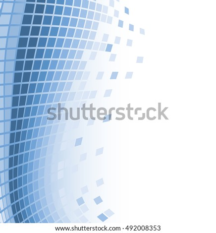 abstract mosaic background with blue flying particles