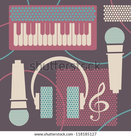 Abstract music background - collage with objects of musical studio. Vector illustration.