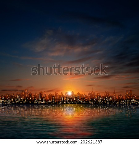 abstract nature background with panorama of city dark clouds and golden sunset