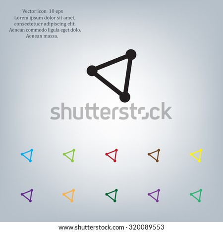 Abstract network connection structure, digital technology communication, geometric shape with nodes. Flat icon vector illustration.
