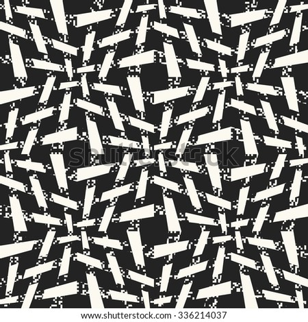 Abstract noisy detailed modern twisted basket stroke. Seamless pattern.