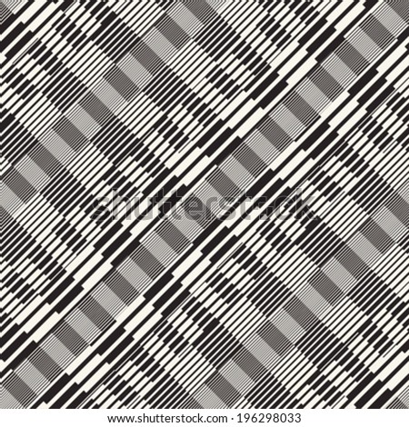 Abstract ornate refracted striped textured background with a diagonal direction. Seamless pattern. Vector.