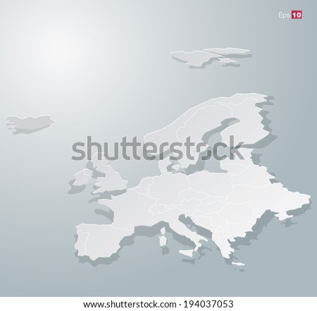 Abstract Paper Europe map for Infographics. Editable vector format.