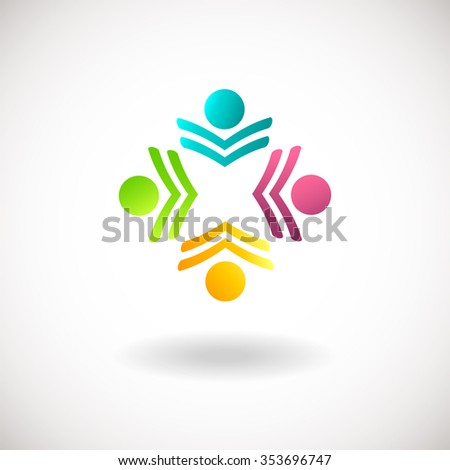 Three Happy Motivated People Round Colorful Stock Vector ...