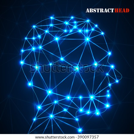 Abstract polygonal head with glowing dots and lines, network connections. Vector illustration. Eps 10