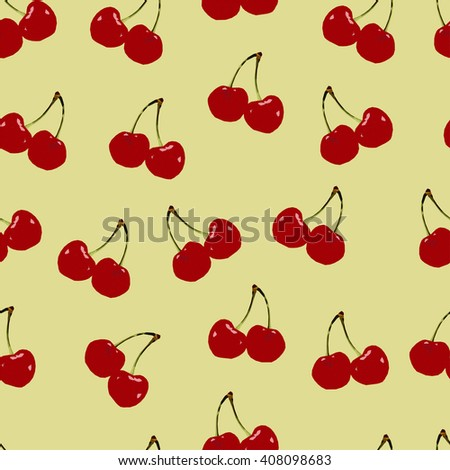 Abstract polygonal seamless texture, image with low red cherry, summer pattern on the yellow background, picture with berry, vector illustration