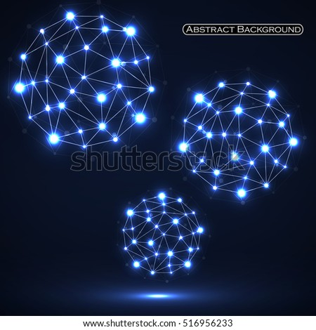Abstract polygonal spheres, network connections. Futuristic technology style. Vector illustration. Eps 10