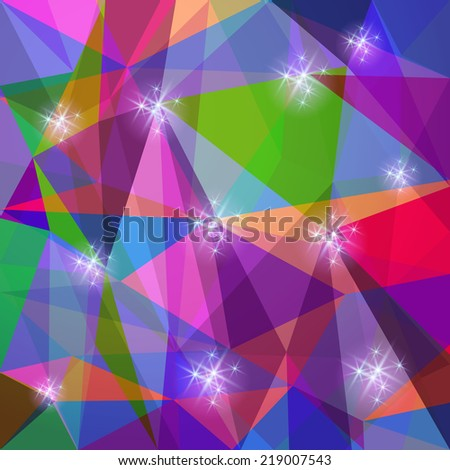 Abstract polygonal transparent background with glowing stars