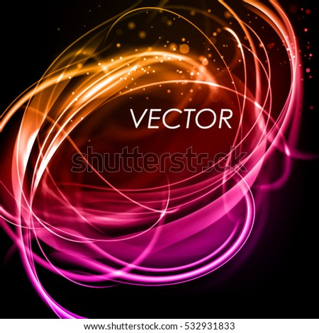Abstract purple background with shine filament. Stylish vector frame