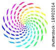 Abstract rainbow color spiral made up of twisted rectangle shapes. - stock photo
