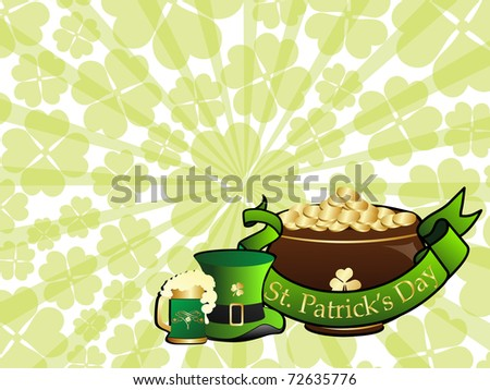 abstract rays, shamrock background with earthenware, beer mug, leprechaun hat and ribbon