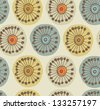 Abstract scandinavian seamless pattern. Fabric texture with decorative flowers. Background with circle ornamental texture - stock vector