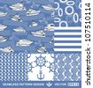 Abstract sea backgrounds set, monochrome fashion seamless patterns, blue vector wallpapers, creative retro fabrics, fantasy wrappings - summer, maritime theme for design - stock vector