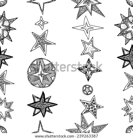 abstract seamless background, fantasy hand drawn stars