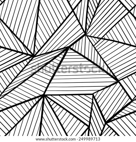 Abstract seamless black and white geometric pattern.