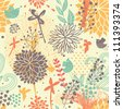 Abstract seamless pattern. Cartoon birds in flowers in vector. Summer background - stock vector